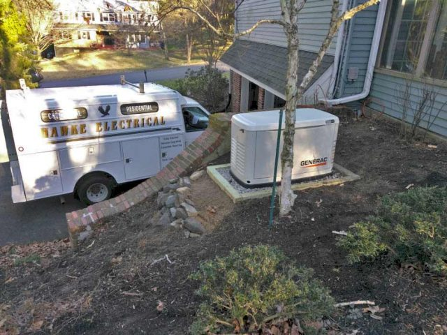 Backup generator on a newly built stand