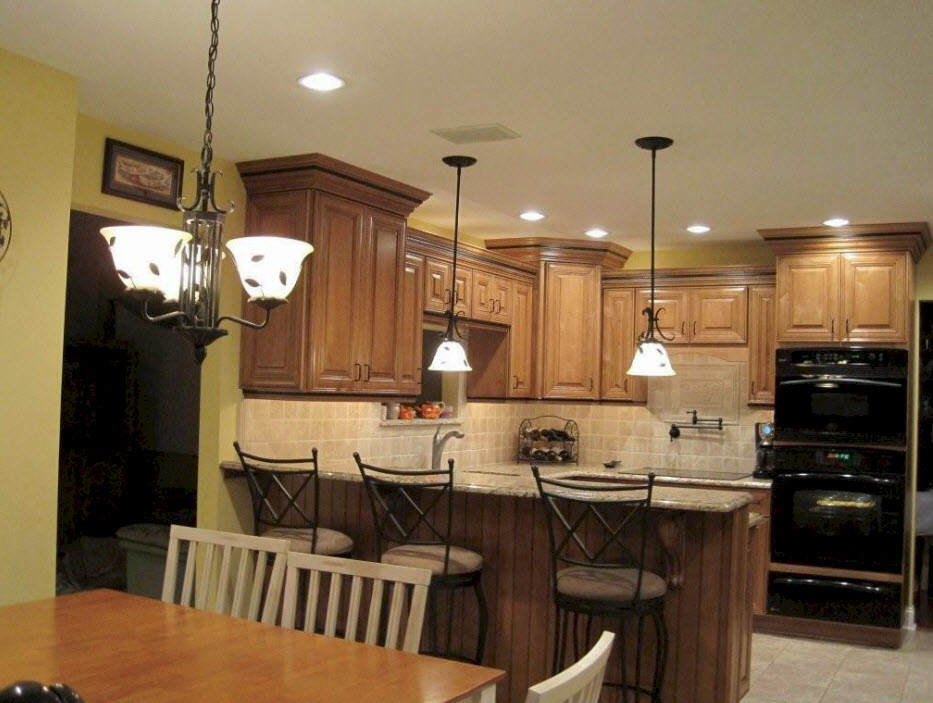 Pendent lighting in a kitchen in the Philly suburbs.