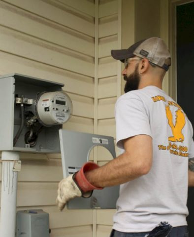 Hawke Electrician installing an electric meter